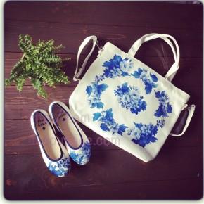 ブルーの靴とバッグセット