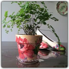 植木鉢のデコパージュ